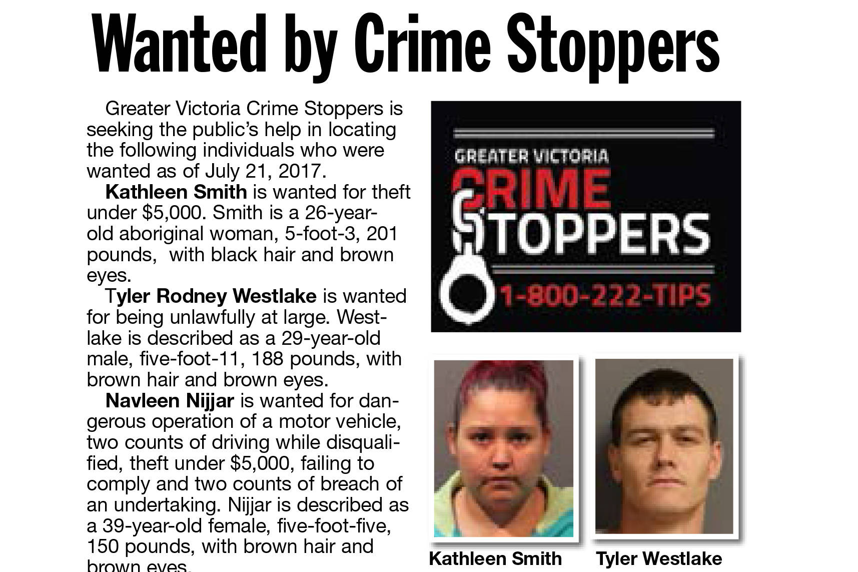 Wanted by Crime Stoppers – Saanich News