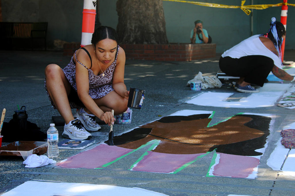BIPOC artists come together to paint mural highlighting racial injustice in Bastion Square - Saanich News